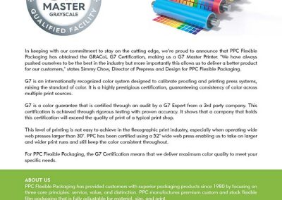 PPC Flexible Packaging ™ is now G7 certified