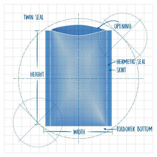 Precision Clean II Twin Seal Die Line Opening Hermetic Seal Skirt Foldover Bottom Width Height