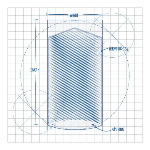 Precision Clean Chevron Pouch PPC Flexible Packaging Product Blueprint, Width, Hermetic Seal, Length, Opening.