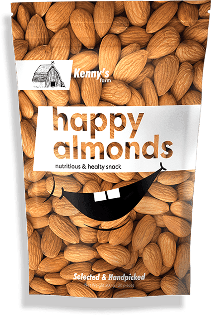 Flexible Packaging for Almonds, Kenny's Happy almonds nutritious and healthy snack, snack reclosable packaging