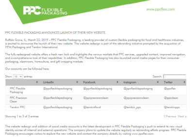 PPC Flexible Packaging ™ ANNOUNCES LAUNCH OF THEIR NEW WEBSITE